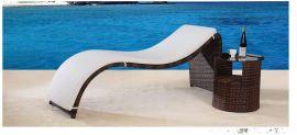 户外室外休闲躺床 庭院阳台躺椅 PE仿藤沙滩床藤编家具露台太阳床