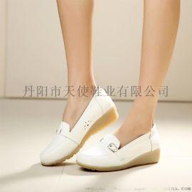 天使美足766护士鞋真皮牛筋底白色坡跟女单鞋妈妈鞋小白鞋软牛皮女鞋