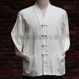 中式棉麻米白色一字扣禅修服居士服改良唐装茶服禅服汉服