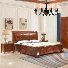 现代新中式花梨色小高箱橡木储物双人床