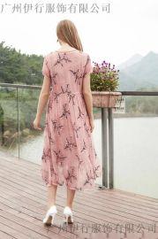 方语美品牌真丝碎花连衣裙折扣女装店特卖货源拿货市场