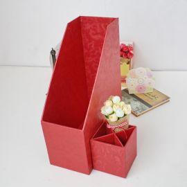 厂家专业定制2017高档礼盒 办公桌标配多色硬纸板文件架+精美笔盒