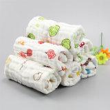 6层印花褶皱口水巾 宝宝纱布方巾 可爱泡泡纱手帕