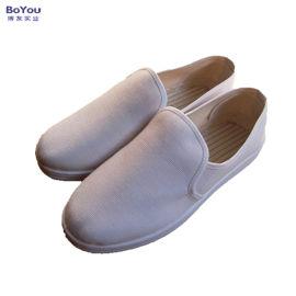防静电鞋  白蓝帆布中巾鞋 PVC条纹中巾鞋