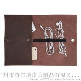 多功能真皮收纳包复古收纳袋耳机数码配件手机包