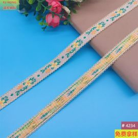 1.5CM宽黄色花色提字绣花织带服装女装箱包辅料