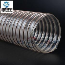卫生级3寸76mm无毒无味高透明聚氨脂pu钢丝伸缩软管/防静电除尘管