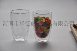 精玻批发创意透明玻璃杯,双层透明隔热花茶杯,玻璃水杯