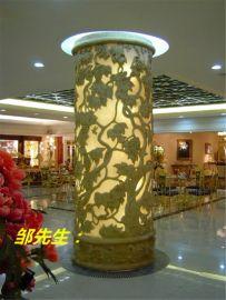 深圳酒店大堂砂岩透光装饰柱雕塑定做厂家
