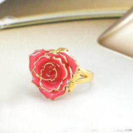 黛雅时尚可爱镀金玫瑰花戒指烤 定制 欧美风 粉色戒指 厂家批发