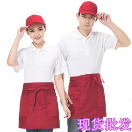 餐饮酒店夏季短袖超市快餐店服务员工作服定制刺绣企业店标logo