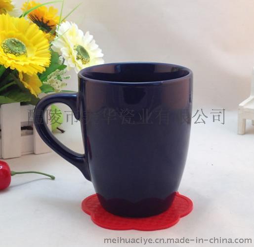 色釉杯 广告陶瓷杯 鼓形杯 创意心形手柄 礼品陶瓷杯  可订制LOGO图案 可定制二维码