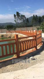 江西河堤仿木栏杆,江西池塘仿木水泥围栏