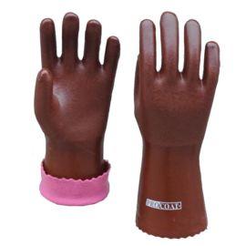 顺兴劳保用品 pvc 防滑手套 抓鱼手套 通用棕色砂面绒布内衬28cm
