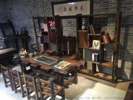 老船木家具|山西老船木茶桌椅厂家|船木海螺孔茶台图片|船木龙骨茶桌价格