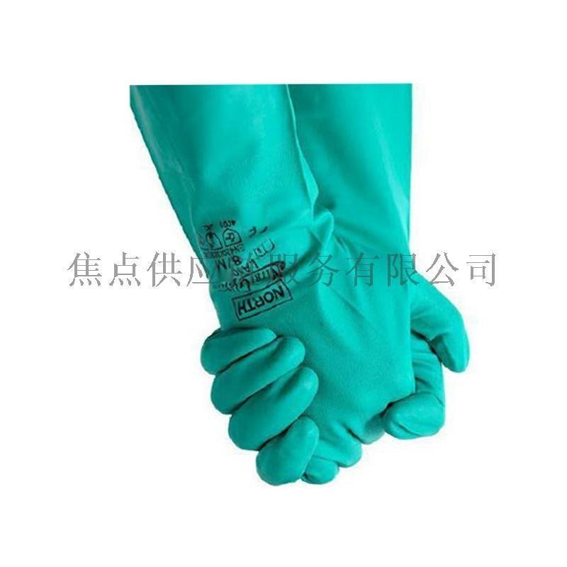 正品 霍尼韦尔耐油耐酸碱丁腈防化防水手套植绒衬里绿色LA132G-09