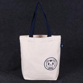 豎款手提帆布袋定做時尚白色手繪棉布袋 可印LOGO