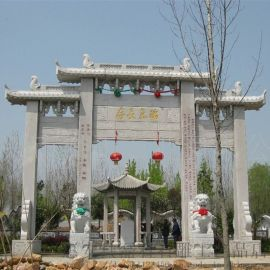 石雕牌楼牌坊 景区村口大型传统花岗岩门楼乡村牌坊