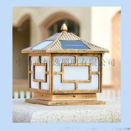 铸铝太阳能柱头灯 中山恒逸柱头灯 中式柱头灯