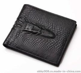 利同新款男长款钱包 真皮钱包男士手机包大容量鳄鱼纹长钱包批发