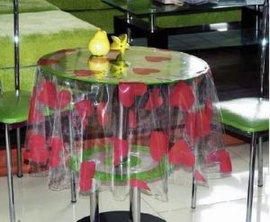 PVC透明印花桌布/台布(T-B183)