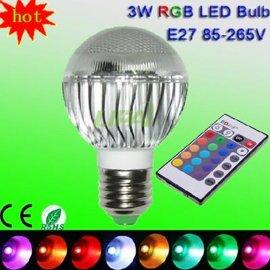 10W RGB球泡16色IR遥控LED七彩GU10b22E27E14灯头珠点大功率球泡