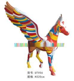 仿真动物树脂雕塑 游乐园雕塑马摆件 定做玻璃钢彩绘马雕塑