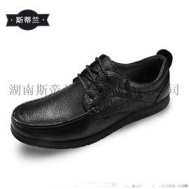斯帝兰新款男式系带英伦头层牛皮鞋