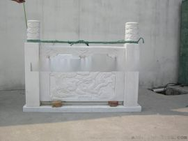 定制汉白玉栏杆 大理石栏杆 祥云浮雕石柱
