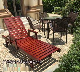 绿岚SM水上乐园塑料躺椅 定制加工户外实木沙滩椅