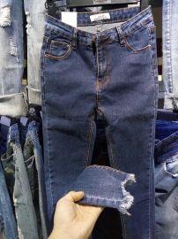 便宜女士弹力牛仔裤库存尾货杂款牛仔裤低价清