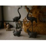 鑄銅動物雕塑 鶴蹬龜燭臺 仿古工藝品擺件