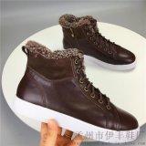AIYA冬季新款羊皮毛一体双卷休闲保暖牛皮板鞋