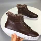 AIYA冬季新款羊皮毛一體雙卷休閒保暖牛皮板鞋