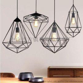 北欧简约创意吧台灯书房餐厅吊灯单头复古工业风铁艺钻石吊灯MS-P6013