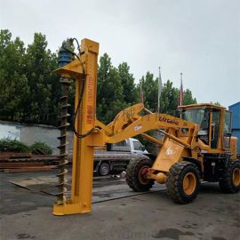 电线杆挖坑机 铲车改装打桩机 电线杆钻孔机 螺旋钻孔机