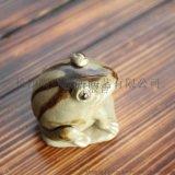長沙銅官窯釉下多彩功夫茶寵零配件純手工陶瓷青蛙擺件玩具