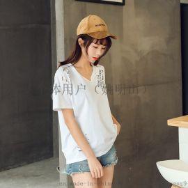 长短袖T恤批发涤棉T恤春夏季女装韩版印花T恤批发