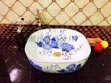 陶瓷臺上精品藍花彩金熱銷衛生間酒店臺上盆
