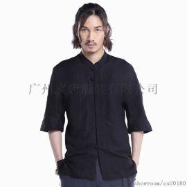 秋上新中国风男棉麻衬衫休闲盘扣亚麻修身短袖衬衣