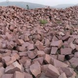供應紅色石頭漿砌片石 景觀壘牆護坡毛石鋪地碎拼石