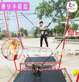 山西大同广场儿童小型钢架蹦极跳跳床赶快玩起来