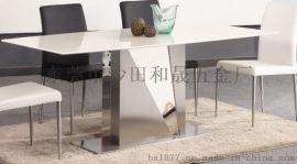 大量供应不锈钢混色餐桌F889