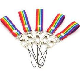 手机链挂件挂饰 [宽版指绳] 彩虹条色