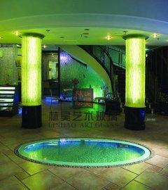 热熔玻璃 叠烧水纹玻璃柱子 酒店夜场大堂装饰柱