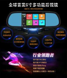 凌途X10专车专用行车记录仪后视镜声控导航云电子狗测速一体机