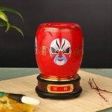 中国红瓷京剧脸谱国粹红瓷旋转笔筒和瓷品牌 商务会议办公礼品
