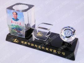 多功能水晶三件套  辦公筆筒水晶三件套 水晶擺臺價格