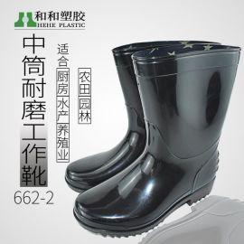 廚房純色耐磨防水防滑中筒雨鞋 廠家直銷男士勞保鞋pvc工作雨靴