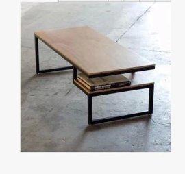 铁艺美式茶几仿锈实木家具LOFT风格复古做旧置物架电脑桌书房书桌